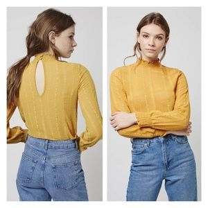 Topshop Mustard Yellow High neck Romantic Blouse 4